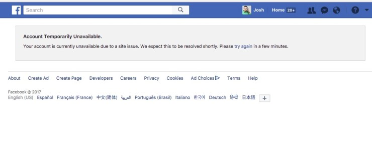 Yes Facebook Is Down Account Temporarily Unavailable