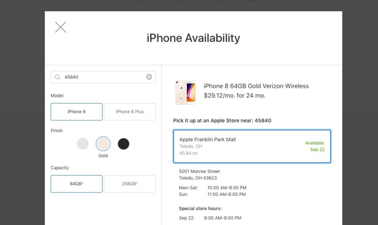 You can pre-order the iPhone 8 for in store pickup.