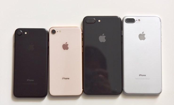 iPhone 8 Plus next to iPhone 8 and iPhone 7 and iPhone 7 Plus