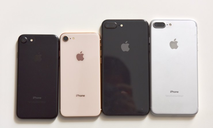 iPhone 8 Plus next to iPhone 8 and iPhone 7 and iPhone 7 Plus