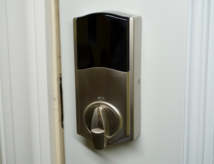 The interior is bigger than a traditional deadbolt, but it is not too big.