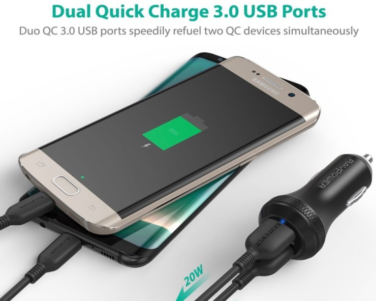 RAVPower Dual Quick Car Charger ($12)