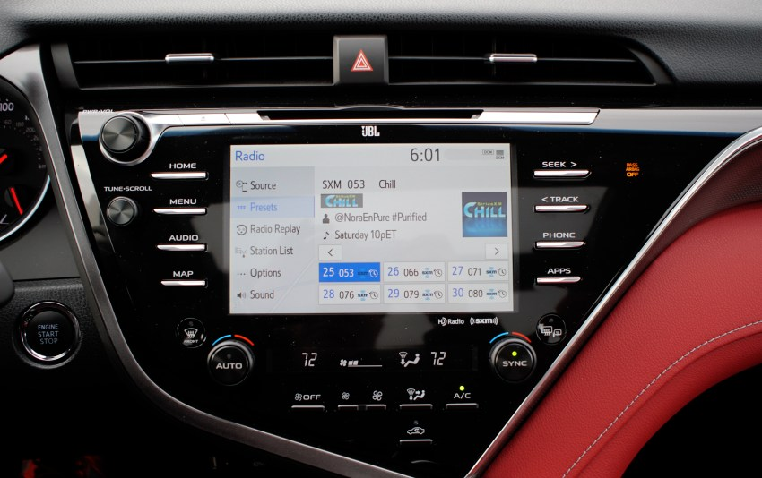The Entune system isn't bad, but it lacks Apple CarPlay and Android Auto.