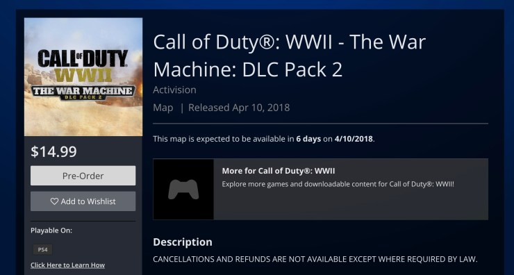 Call of Duty: WWII The War Machine Download Size & Release Time