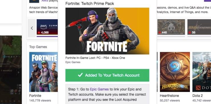 Claim the free Fortnite skins on Twitch.