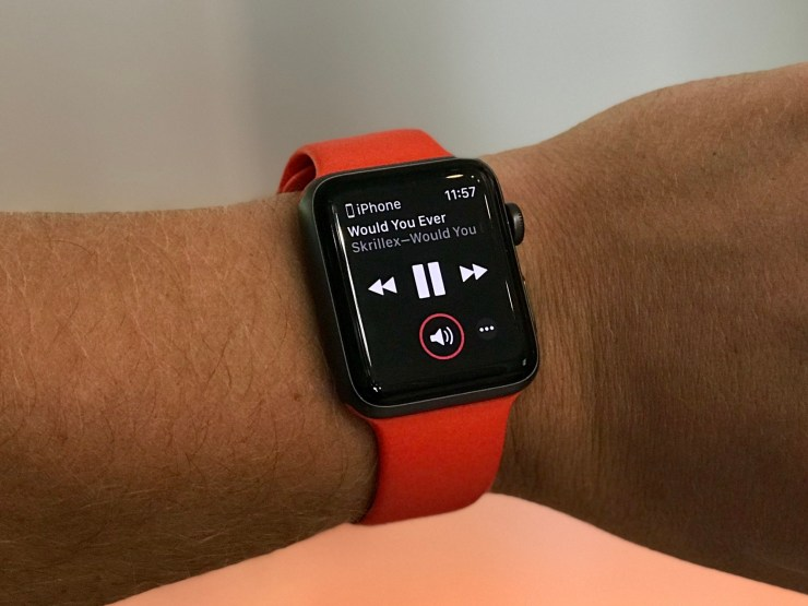 Use the Now Playing option to control music playing on your iPhone with your Apple Watch.
