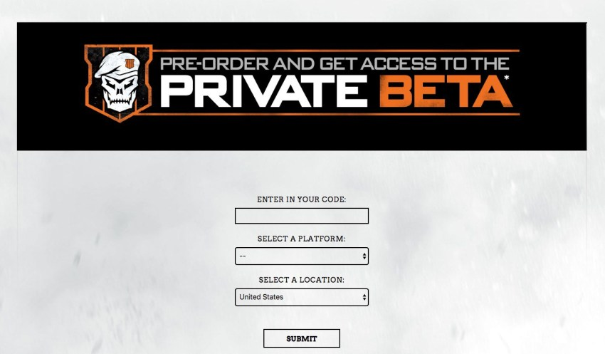 Make sure you register your Call of Duty: Black Ops 4 beta code, so you can get your token.