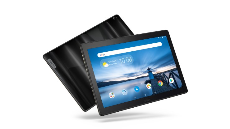 Opt for the top of the line Lenovo Tab P10 with four speakers and a fingerprint scanner that supports multiple profiles.