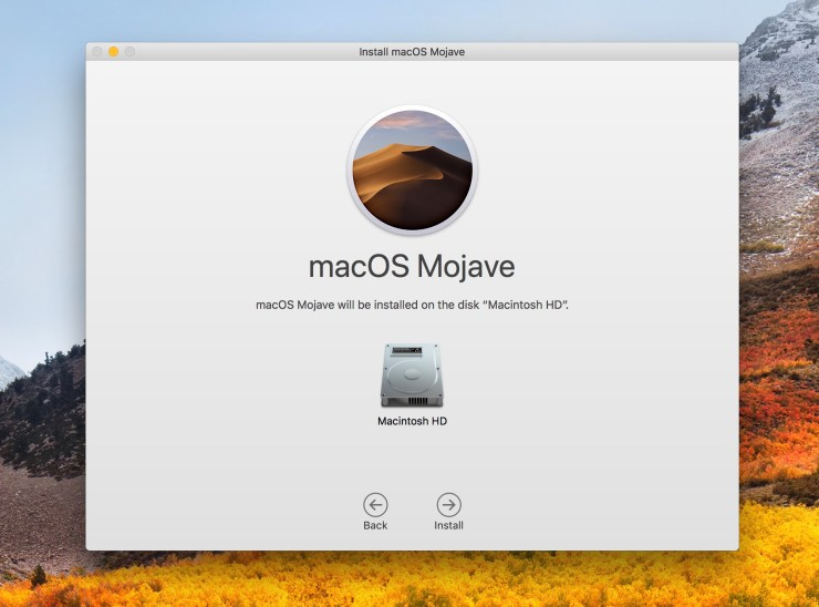 Pick the drive to install macOS Mojave to.