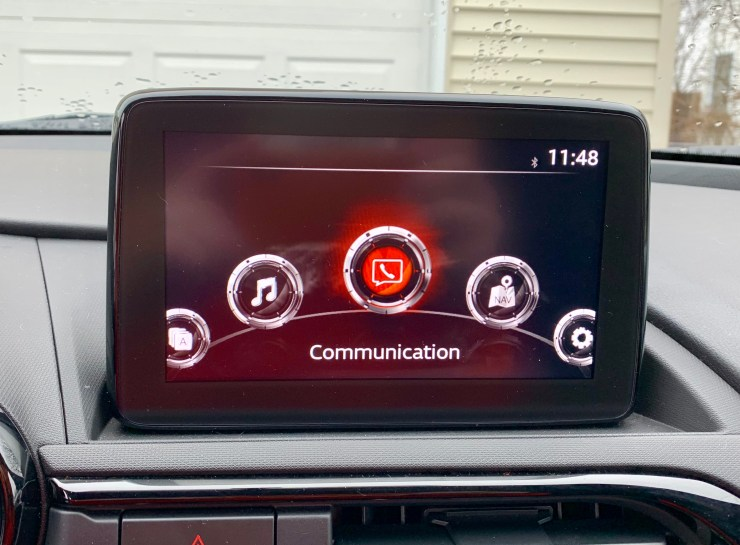 The Miata RF doesn't have Apple CarPlay or Android Auto yet.