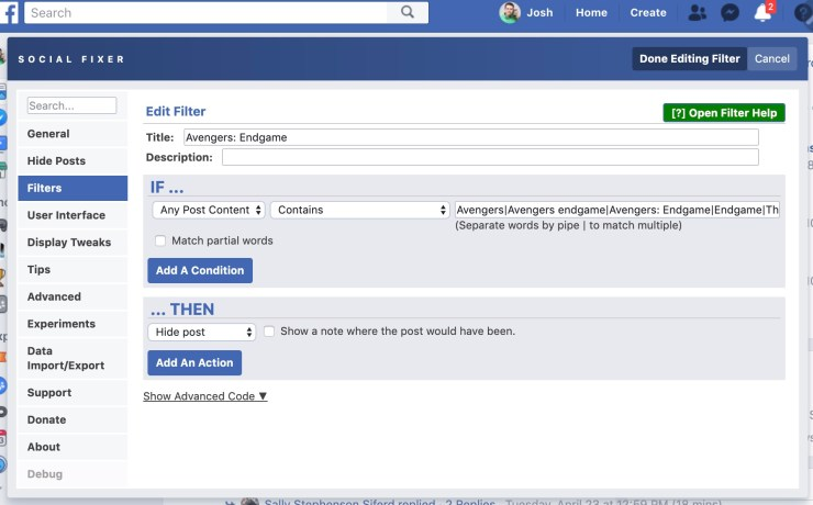 Use Social Fixer to block Avengers: Endgame spoilers on Facebook.