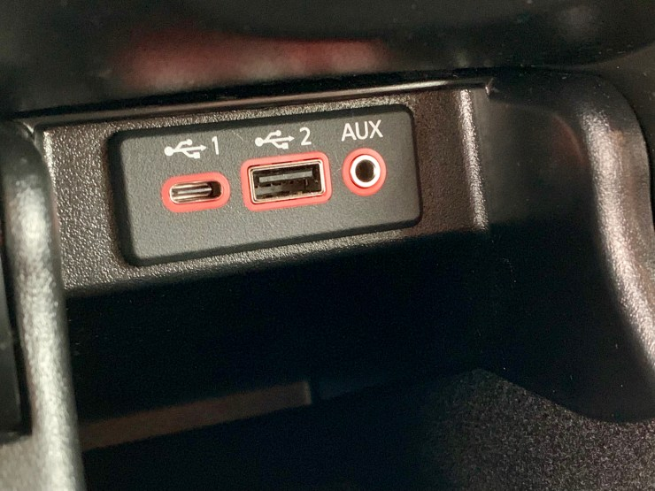 USB C ports are standard with one in the front and one in the back.