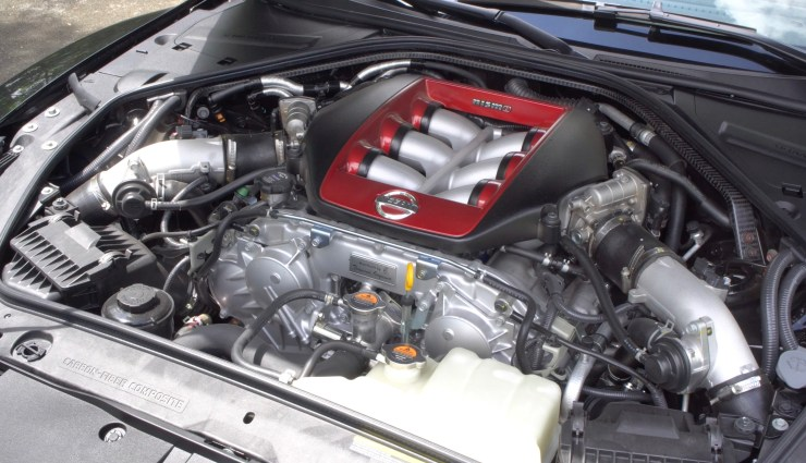 A specially tuned engine with twin turbochargers off the GT 3 racecar.