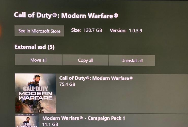 The Call of Duty: Modern Warfare download size is over 120GB on Xbox One.