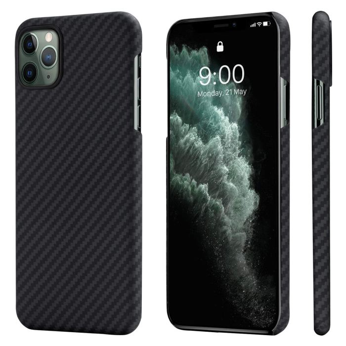 The Pitaka slim iPhone 11 Pro Max case is slim and works with magnetic mounts.