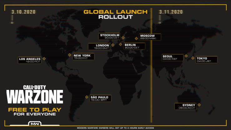 call of duty warzone release times