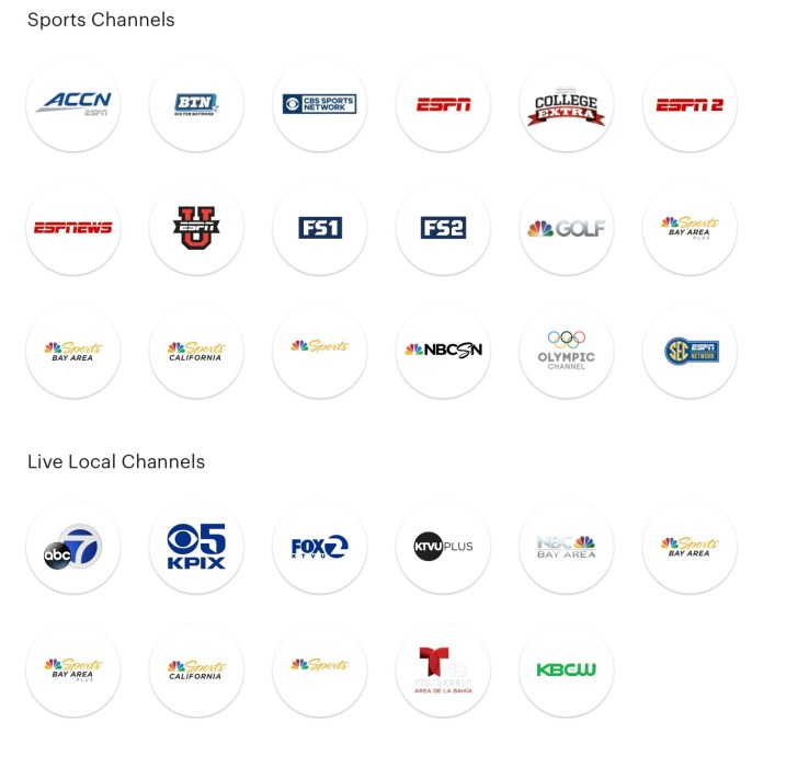 Hulu Sports Stations and Local stations