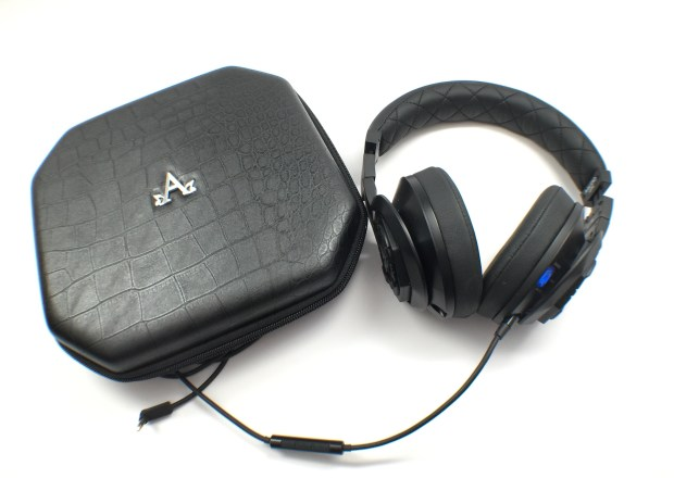 A-Audio includes a nice carrying case and two headphone cords.