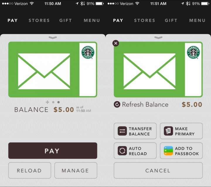 Now you can use information and manage the Starbucks gift card.