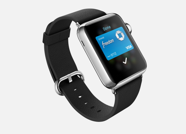 With the iPhone 5s and Apple Watch you can only use Apple Pay in stores.