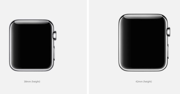 The Apple Watch is available in big and small.