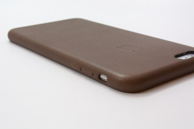 The leather case covers the volume and power buttons.