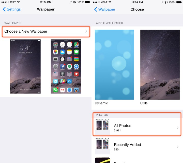 Choose photos or an included image from Apple.