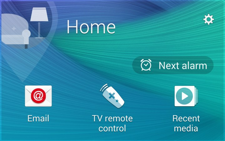 The Note 4 My Places widget shows you shortcuts that matter for where you are.