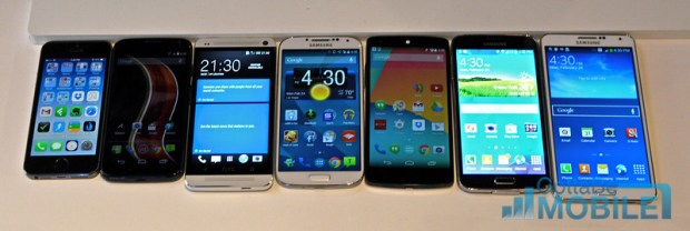 Galaxy S5 vs Gaalxy Note 3 vs Galaxy S4 vs Nexus 5 vs Moto X vs iPhone 5s vs HTC One-L
