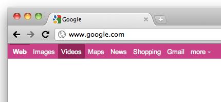 Google black bar pink
