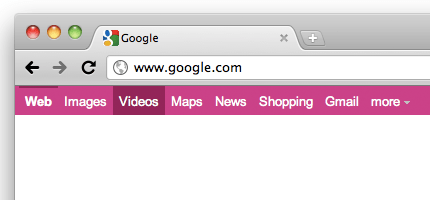 Google black bar pink