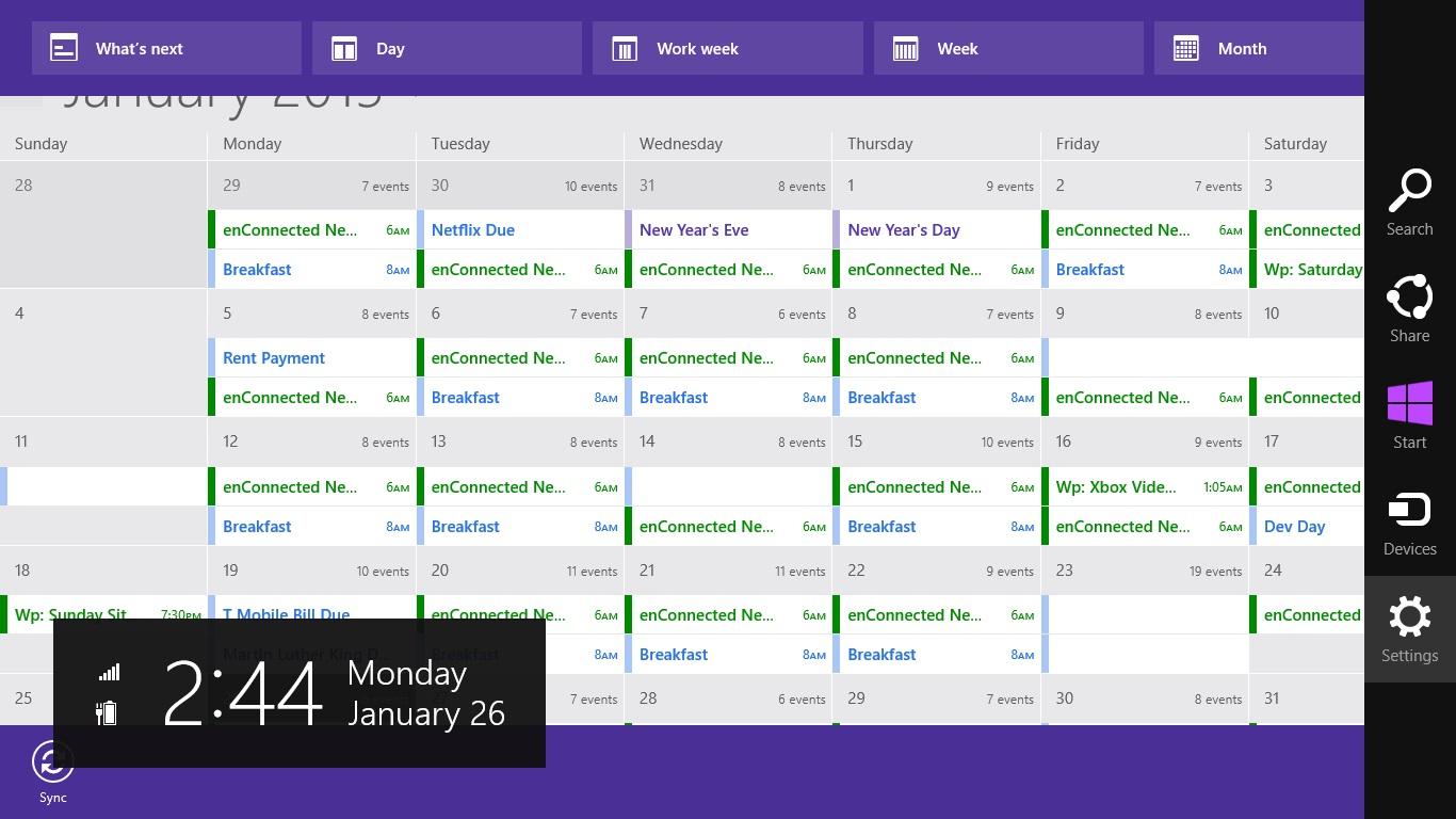Kalender Windows 8