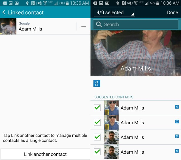 Choose the contacts to link to. This will look different depending on your phone, but the options are still almost identical.