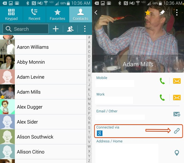 Start the process to link your duplicate contacts.