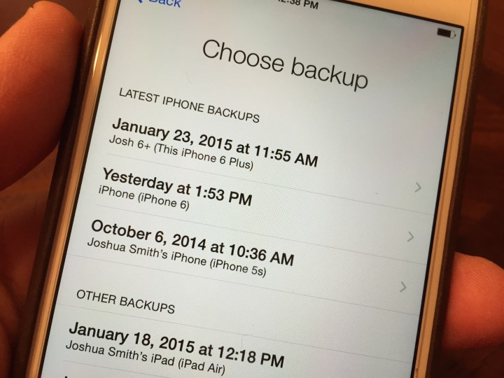 Choose the iCloud backup to restore to your iPhone.