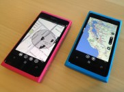 Nokia Maps, with vector graphics, on right; Microsoft's Bing Maps on left.