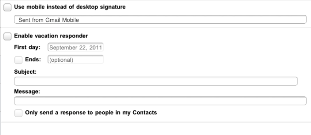 Gmail vacation auto-responder and mobile signature
