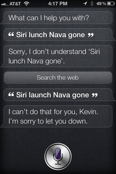 Siri can't launch apps yet