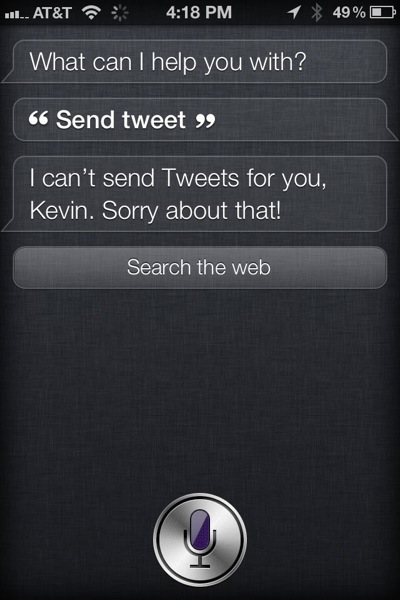 Siri can't Tweet yet