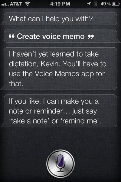 Siri can't record voice memos
