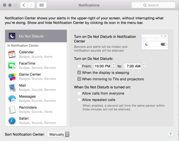 You can change Do Not Disturb notifications on the Mac.