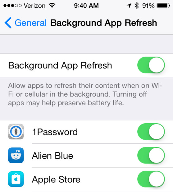 Turn off background app refresh for individual apps.