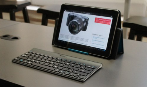 Logitech Tablet Keyboard with Samsung Galaxy Tab in landscape orientation