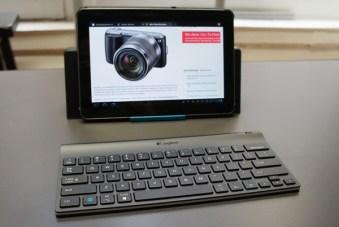 Logitech Tablet Keyboard with Samsung Galaxy Tab in landscape orientation