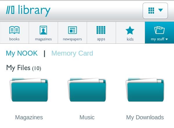 Nook Tablet My Files