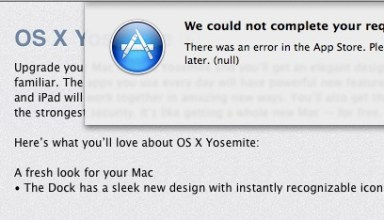 These temporary OS X Yosemite download errors should subside soon.