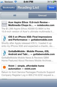 Reading List iPhone