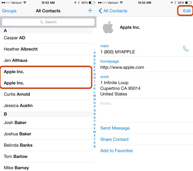 Find the duplicates and edit one of the contacts.