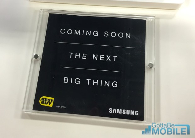 """Best Buy teases the Galaxy S6 release date as """"coming soon"""", in stores."""