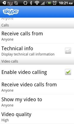 Skype Video Calls on Android ThunderBolt Charge and More